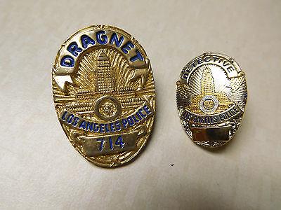 Vintage Lot Dragnet Detective City of Los Angeles Silver Gold Tone Badge Pins