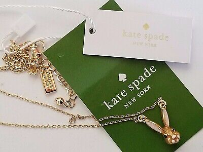 NEW W Tags KATE SPADE NY Pink Ears Enamel Rabbit Gold Tone Pendant NECKLACE