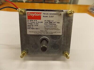 New Dayton Pm Dc Gearmotor 2l007 12 Vdc 8.75 Rpm 41 In-lb H5