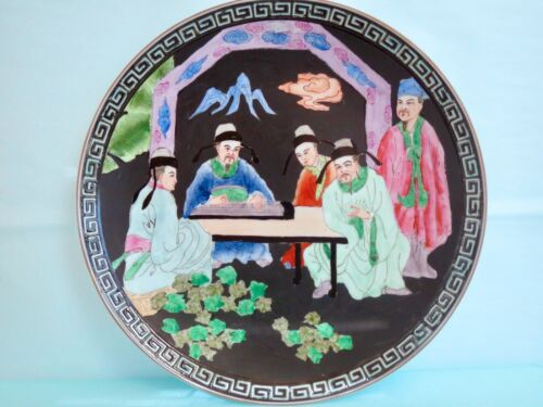 """Decorative Antique Reproduction CHINESE MEN 10.25"""" Round Black DISPLAY PLATE"""