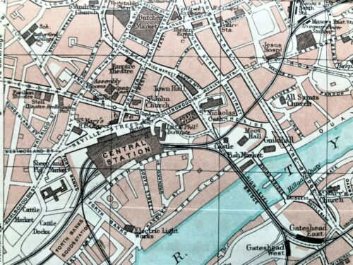 Antique Color Map : NEWCASTLE ON TYNE, ENGLAND : 100% AUTHENTIC  ORIGINAL 1930
