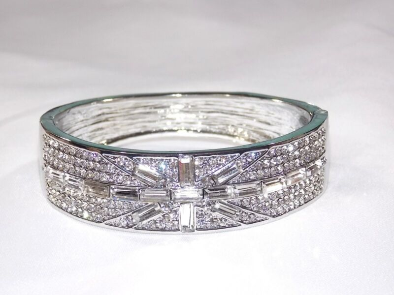 Bridal Wedding Clear Cubic Zircon Baguette Cut Silver Bracelet