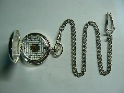 Nice Silver Tone Mechanical Pocket Watch with Chain & Box, good for present