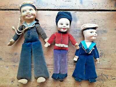 3 VINTAGE ANTIQUE NORAH WELLINGS VELVET FELT SAILOR BEEFEATER DOLLS SOFT TOY