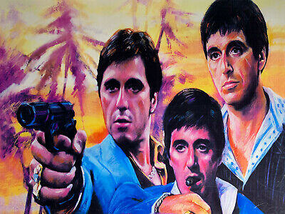 Gangsters Style Scarface Gun  Art Poster Canvas Painting Wall Picture 15.2x19.2""
