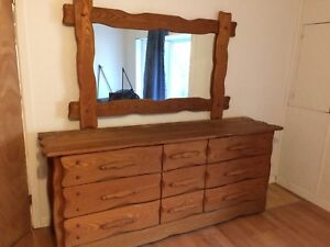 Solid Wood Twin Beds, Wardrobe, Dresser/Mirror, End Tables