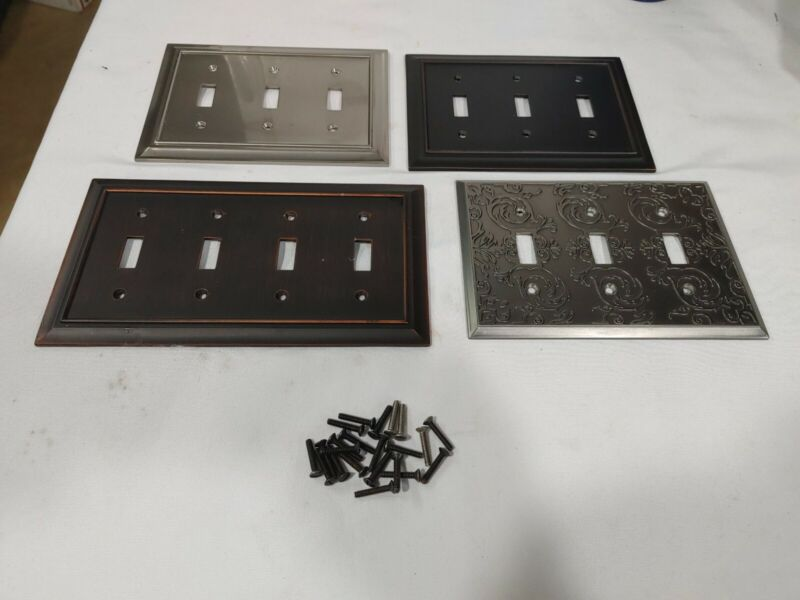 Decorative Switch Wall Plates Lot of 4 Metal Engraved Bronze Toggle Switch