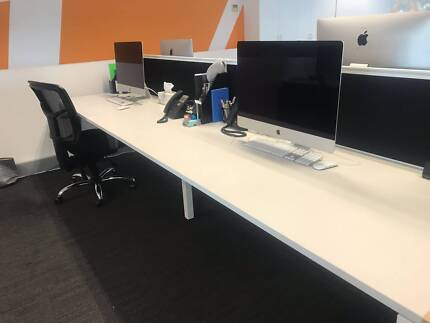 White, Double Sided, 4 Person Office Desk Workstation