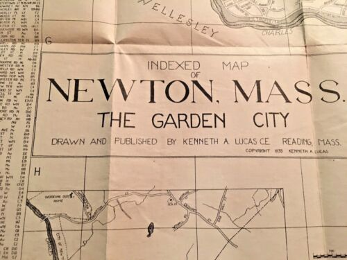 This is a vintage indexed map of Newton, Massachussetts.