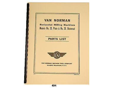 Van Norman Model 2l Plain Universal Milling Machine Parts List Manual 494
