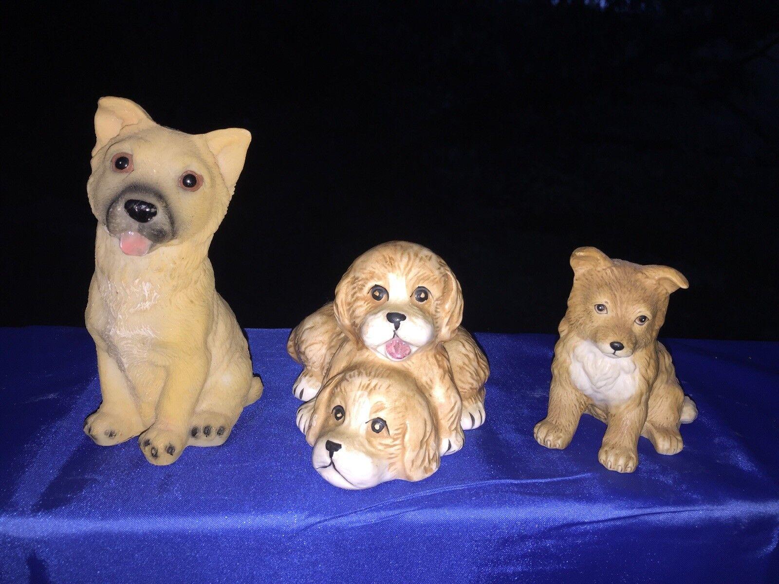 Vintage berger allemand collie lassie homco figurine set 3 unique chiens ❤️ j8