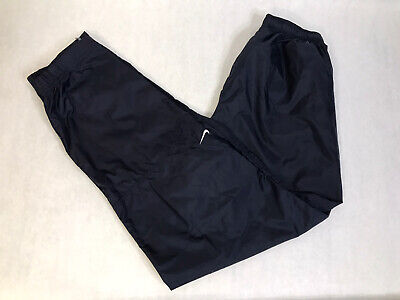 Vintage Nike Navy Blue Unlined 100% Nylon Windbreaker Track Pants Mens L Large