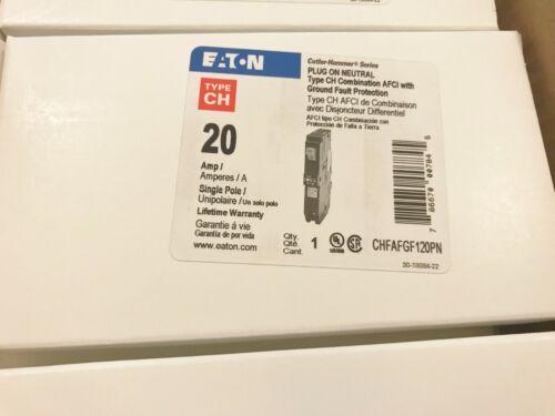ONE (1) NEW EATON CUTLER HAMMER CHFAFGF120PN 20A AFCI CIRCUIT BREAKER BEST PRICE