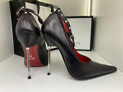 12cm Sexy FUSS sky high heels 35 36 black pumps fetish Extrem metal STRAPS studs