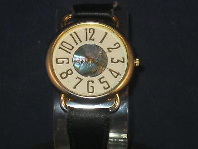 VTG MEN GITANO WRISTWATCH/WHITE FACE RAISED NUMBERS W/BLACK LEATHER BAND P063 Black Numbers Leather Band