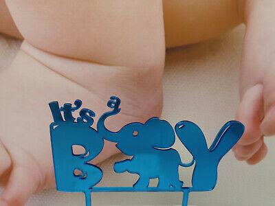 Cake Topper Caketopper Tortenaufsatz It's a boy Elefant Acryl Geburt Junge Baby