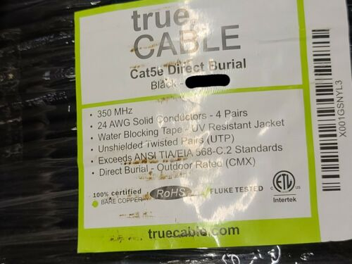 trueCable CAT5E UTP Waterblock Tape Direct Burial Network Cable CMX Black /100ft