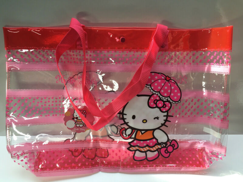 Hello Kitty Sanrio Pink Red Clear Plastic Waterproof Rain Umbrella Tote Bag Rare
