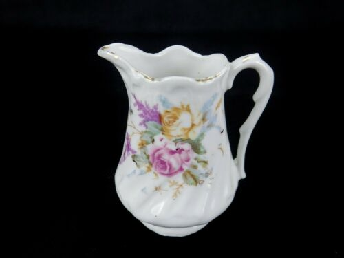 """Vintage Small Porcelain Cream Pitcher, Floral Transfer Ware Design 3"""" Tall CP 03"""