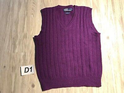 ☕Vintage Ralph Lauren Purple Cable Knit V-Neck Sweater Vest 100% Wool Medium☕D1☕
