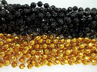 48 Steelers or Saints Mardi Gras Beads Party Favors Necklace 24 Black 24 Gold - Steelers Party Favors