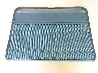 Travel Zippered Blue Fabric Document Case, File Organizer, covid 19 (Globe Weis Fabric coronavirus)