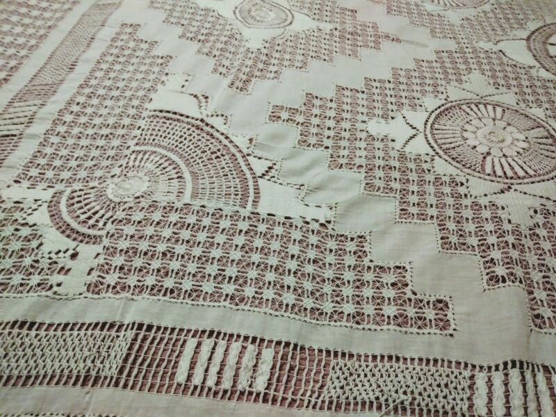"""Amazing Antique Elaborate Drawnwork and Needle Lace Tablecloth 93"""" by 74"""""""