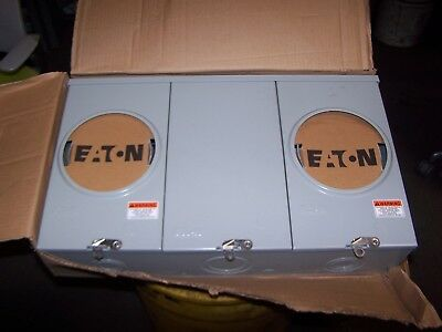 New Eaton 200 Amp Outdoor Meter Socket 2 Gang 600 Vac 1 4 Jaw Ueht2r2303uch