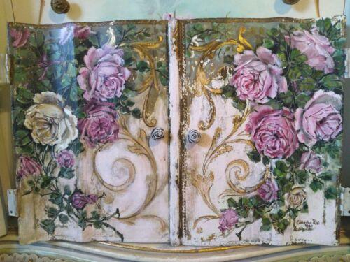 Original Pink Rose Painting Shabby Chic Florentine Italian Pair of Cabinet Doors