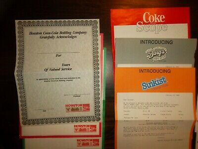 11 HOUSTON COCA COLA Advertising Sheets  -  WELCH'S  SCOPE  SUNKIST  BARQS  1980