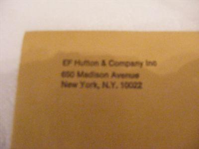 Vintage Ef Hutton   Company Envelope Defunct Brokerage Firm Madison Ave  Nyc