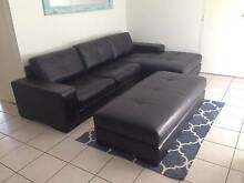 Big brown leather couch with chaise and ottoman Palm Beach Gold Coast South Preview
