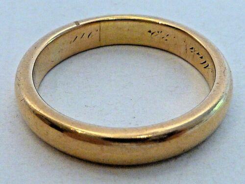 "18 KARAT GOLD WEDDING BAND, ENGRAVED ""MARCH 30, 1910"", MEASURES SIZE 9"