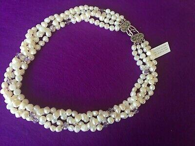 DESIGNS BY VERONICA CULTURED PEARL & AMETHYST NECKLACE W/SS  REG $300 NOW $69 Amethyst Cultured Pearl Necklace