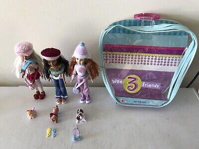 Mattel Wee 3 Friends fun! fun! fun! MATTEL 2004 Complete Set w/ Dogs Dolls +CASE