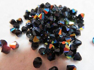 Black Bicone Swarovski Crystal Beads - 100 Jet Black AB (5301)  4mm bicone Swarovski Crystal Beads. Lot 57