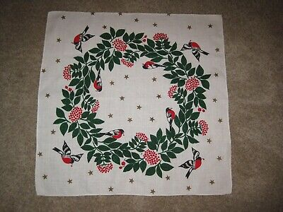 "Vtg Froso Handtryck Christmas LINEN Tablecloth SWEDEN 30"" Square Red Black BIRDS"