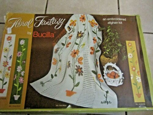 Vintage Bucilla Crocheted Embroidered Afghan Boxed Kit Floral Fantasy  Complete