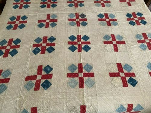 "Antique Quilt VERY OLD Red Cream Blue Large 80"" x 80"" Lovely Collectible Piece"
