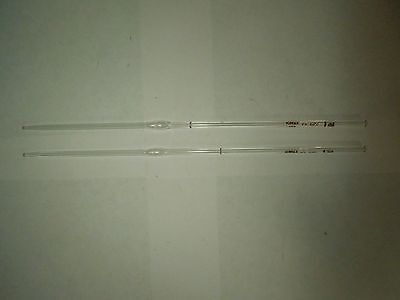 Vintage Kimax Lab Equipment 2 Pipets Pipettes V Color Coded 1 Ml To 20 Degrees C