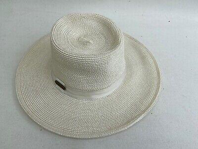 Hatch Sun Hat Ivory 100% Straw Wide Brim Drawstring Inside Band One Size Ivory Sun Hat