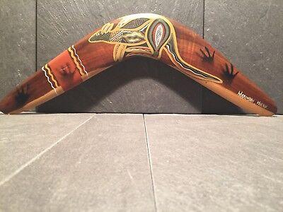 Aborigines BOOMERANG, Holz, handgefertigt und bemahlt, Jagdwaffe, Stammeskunst