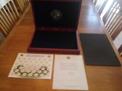 The Franklin Mint Presidential Coins Cherry Wood Collection Box with 4 Coins