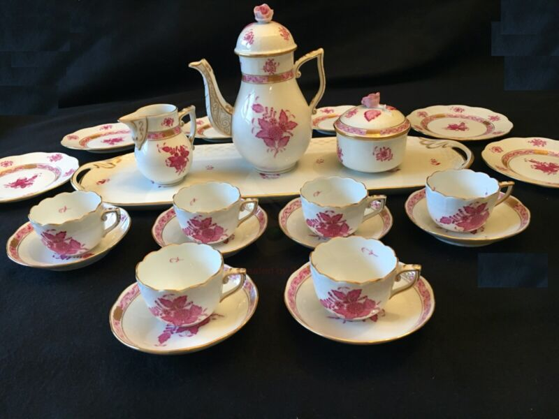 Herend Chinese Bouquet Raspberry Demitasse Set