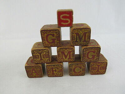 10 Antique Wooden Childrens Building Blocks Alphabet Animals Numbers ABC's