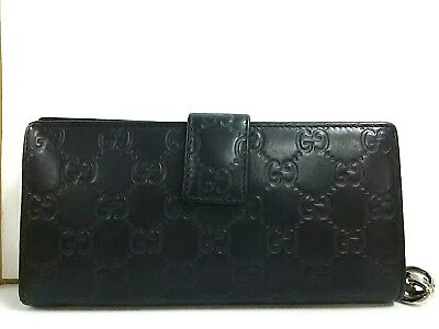 Auth GUCCI GGTwins/Guccissima 233024 Black Leather Long Wallet