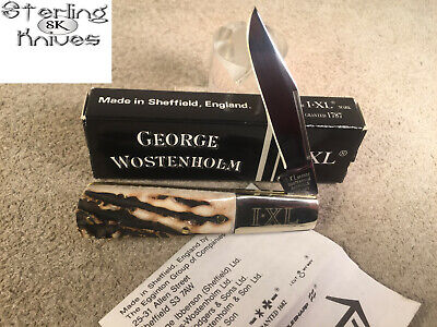 """3-3/8"""" Closed IXL George Wostenholm Sheffield England Stag Handle Barlow Knife"""