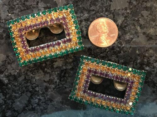 Vintage Shoe Clip Buckle Pair Mardi Gras MUSI Rhinestone New Orleans Jewelry WOW