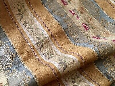 Antique French Floral Linen Silk Lisere Brocade Jacquard Fabric ~ Mustard Gray