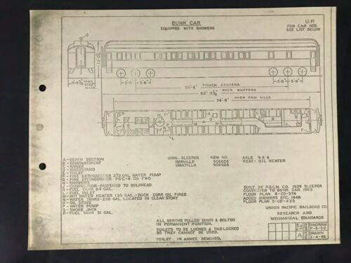 Vintage Union Pacific Railroad Passenger Equipment Diagram Bunk Car